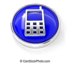 Phone icon on glossy blue round button