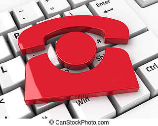 Phone icon on keyboard - Red phone icon on computer keyboard...