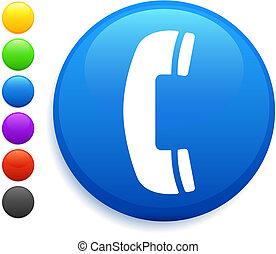 phone icon on round internet button original vector...