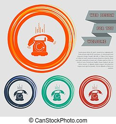 Phone Icon on the red, blue, green, orange buttons for your website and design with space text. Vector
