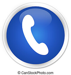 Phone icon premium blue round button