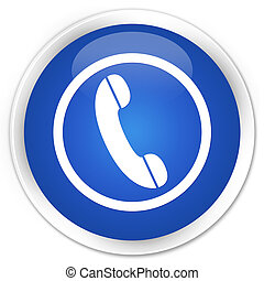 Phone icon premium blue round button