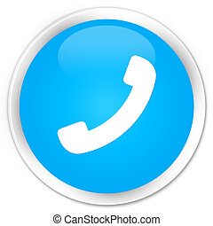 Phone icon premium cyan blue round button