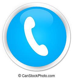 Phone icon premium cyan blue round button