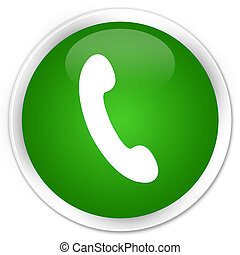 Phone icon premium green round button