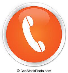 Phone icon premium orange round button