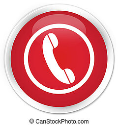 Phone icon premium red round button