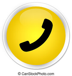 Phone icon premium yellow round button