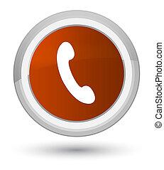 Phone icon prime brown round button