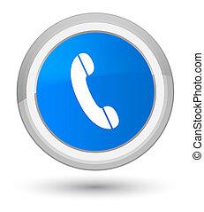 Phone icon prime cyan blue round button