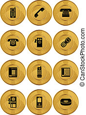 Phone Icon Set Coin - Set of telephone themed gold coin...