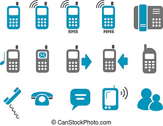 Phone icon set - Vector icons pack - Blue Series, phones...
