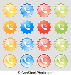 Phone icon sign. Big set of 16 colorful modern buttons for your design. Vector