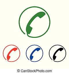 Phone icon, sign. Handset. Vector illustration. Flat design. Colorful set on white background.