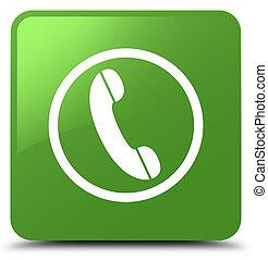 Phone icon soft green square button