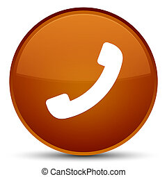 Phone icon special brown round button