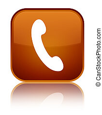 Phone icon special brown square button