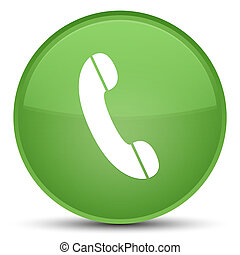 Phone icon special soft green round button