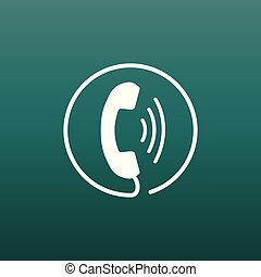 Phone icon vector, contact, support service sign on green background. Telephone, communication icon in flat style.