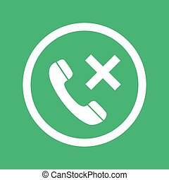 Phone icon with cross sign isolated on green background. Telephone icon for mobile app. Vector illustration