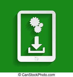 Phone icon with settings symbol. Vector. Paper whitish icon with soft shadow on green background.
