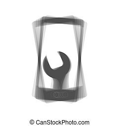 Phone icon with settings. Vector. Gray icon shaked at white background.