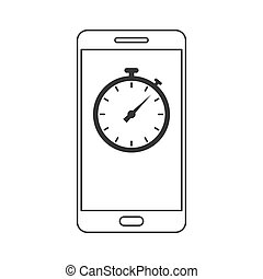 Phone icon with stopwatch. Vector illustration. - Phone icon...