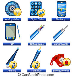 Phone icons 5 - Collection of 9 blue phone icons isolated...