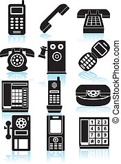 Set of black phone icons in a variety of styles.