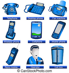 Phone icons - Collection of 9 blue phone icons isolated ...