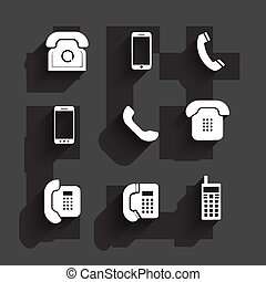Phone icons Flat Design with shadows