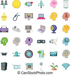 Phone icons set, cartoon style