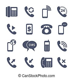 Phone icons - Set of phone icons. Mobile and communication,...