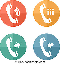Phone icons set on colored buttons background.