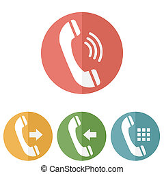 Phone icons set on white background. Vector illustration.