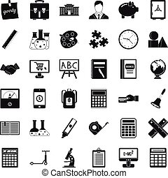 Phone icons set, simple style
