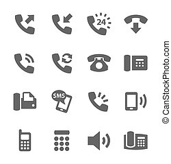 Phone icons - Simple set of phones related vector icons for ...