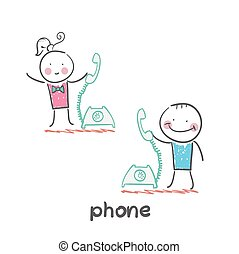 phone. Fun cartoon style illustration. The situation of...