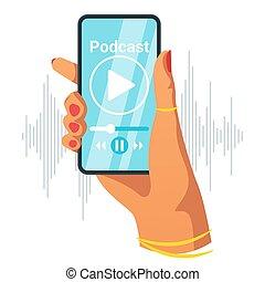 Phone in female hand flat vector illustration. Smartphone...