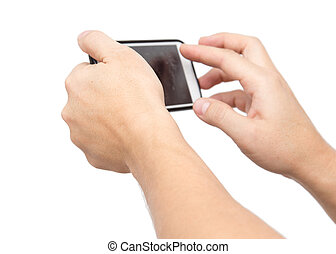 phone in his hand on a white background