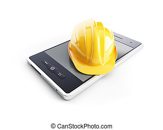 phone in the helmet on a white background