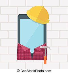 Phone in Working Clothes Design Flat