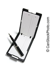 Phone Index Organizer and Pen on White Background