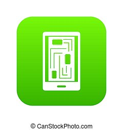 Phone innards icon digital green