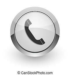 phone internet icon - silver chrome glossy web icon