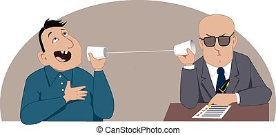 Phone interview - Employer and applicant talking on a string...