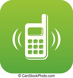 Phone is ringing icon green vector