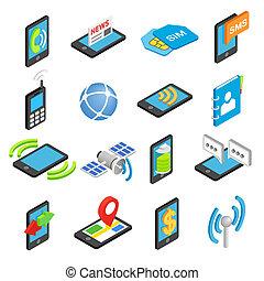 Phone isometric 3d icons set