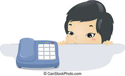 Phone Kid - Illustration of a Kid Waiting Beside a Phone