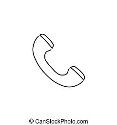 Phone line icon flat style. vector